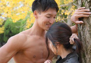 壁ドンするマッチョ/reference photo for drawing muscle/date at the park@写真 マッチョ