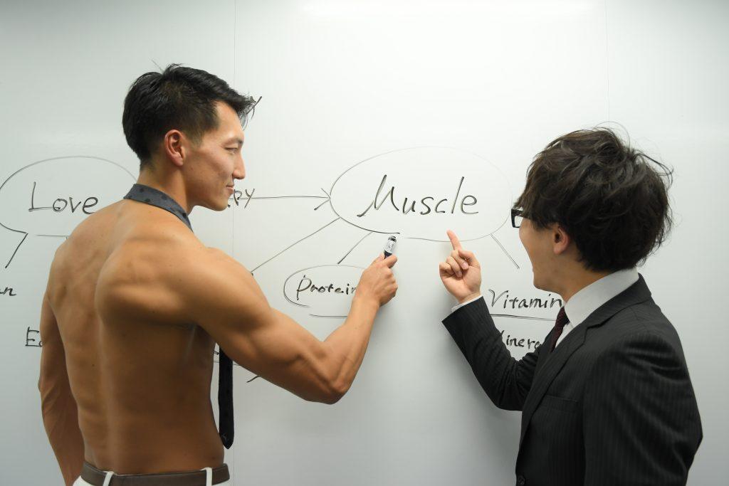 【オフィスのマッチョ】筋肉について議論するマッチョ@フリー素材 プレゼン/reference photo for drawing muscle/at the office