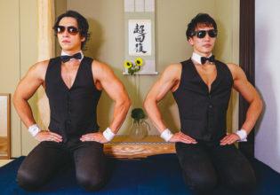茶室のマッチョ1/reference photo for drawing muscle /japanese tea party/maccha@抹茶 フリー素材
