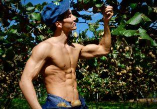 キウイを収穫するマッチョ/reference stock photo farmer macho@農家 フリー素材