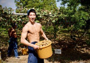 キウイの豊作にご満悦なマッチョ/reference stock photo farmer macho@農家 写真 フリー