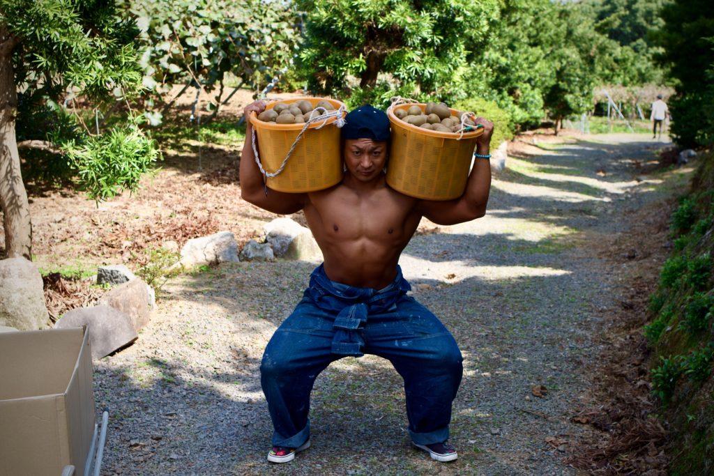 【キウイで筋トレ】スクワット(下半身のトレーニング)/reference stock photo farmer macho@ボディビルダー フリー素材