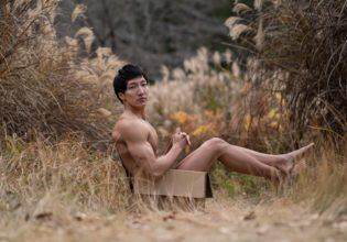 ススキに捨てマッチョ/reference stock photo muscle in autumn colors/box macho@モデル 筋肉