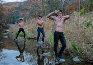 河原でジョ〇ョ立ちするマッチョ/reference stock photo muscle jojo pose@モデル 筋肉