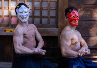 鬼マッチョ(サイドチェスト)/reference stock photo muscle at shrine@鬼 フリー素材