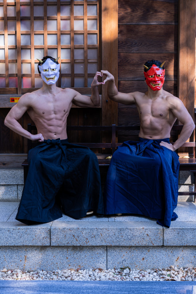 鬼は…外…?/reference stock photo muscle at shrine@写真 マッチョ