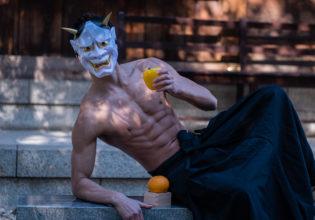 鬼とデコポンとパプリカ/reference stock photo muscle at shrine@画像 筋肉