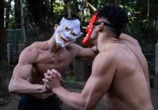恵方巻で揉める鬼マッチョreference stock photo muscle at Setsubun demons@写真 マッチョ