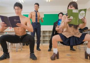 空気椅子の授業/reference stock photo muscle at high school student@フリー素材 筋肉