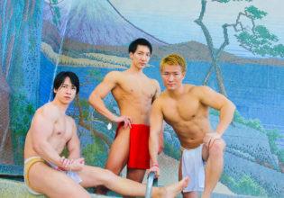 銭湯でキメるマッチョ/reference stock photo muscle at onsen@フリー素材 マッチョ