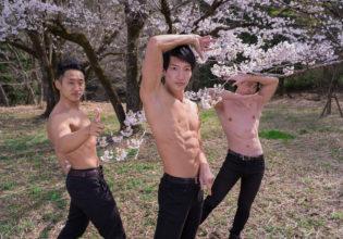 桜でジョ〇ョ立ちをキメるマッチョ/reference stock photo muscle cherry blossoms jojo pose macho@モデル 筋肉