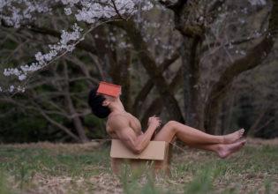 昼寝する捨てマッチョ/reference stock photo muscle cherry blossoms box macho@モデル 筋肉