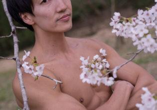 桜とマッチョ(縦写真)/reference stock photo muscle cherry blossoms macho@モデル 筋肉