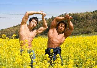 菜の花の精霊マッチョ/reference stock photo muscle field of canola flower@フリー素材 筋肉