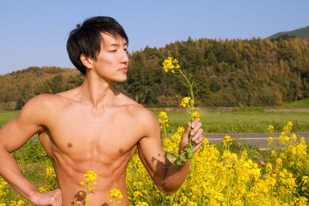 菜の花を愛でるマッチョ@フリー素材 筋肉