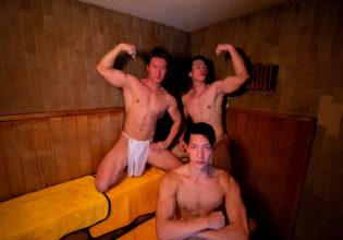 サウナのマッチョ/reference stock photo muscle public bath sauna@写真 筋肉