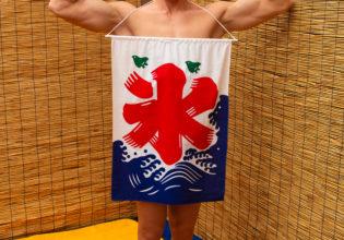 筋肉かき氷始めました!(縦写真)/reference stock photo muscle public bath shaved ice@写真 筋肉