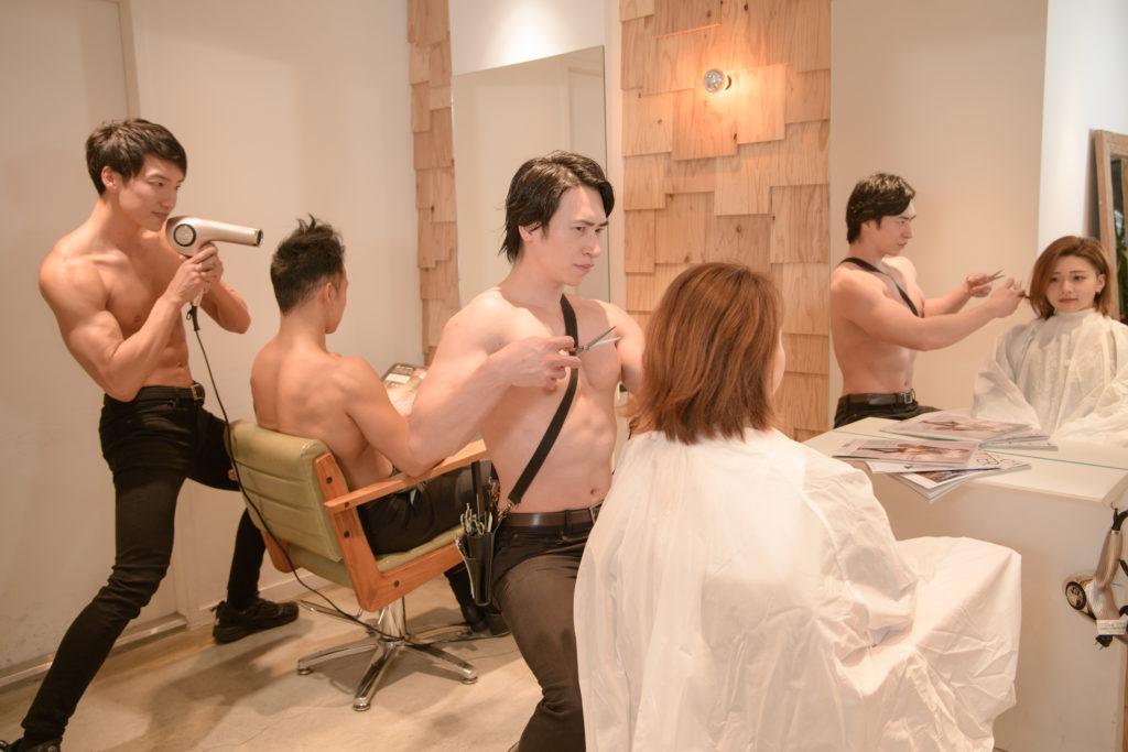 マッチョな美容室/reference stock photo muscle beauty salon@写真 マッチョ