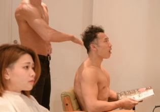 会話が面倒になり手刀で眠らせたアシスタントマッチョ(縦写真)/reference stock photo muscle beauty salon@写真 マッチョ
