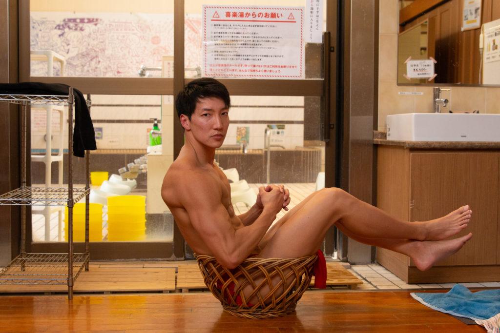 銭湯に捨てマッチョ/reference stock photo muscle public bath box macho@写真 筋肉