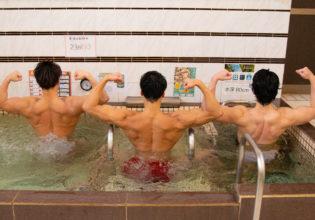 湯舟でリラックスするマッチョ/reference stock photo muscle public bath @写真 筋肉