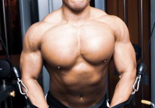 ケーブルフライをする大胸筋(収縮時)/reference stock photo muscle chest@アスリートモデル マッチョ