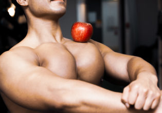 Apple on the pecs/reference stock photo muscle@フリー素材 筋肉