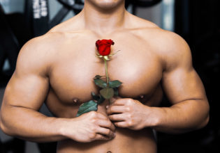 薔薇と大胸筋/reference stock photo muscle pecs roseand @アスリートモデル マッチョ