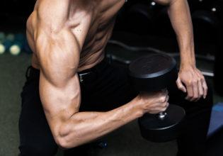 ダンベルハンマーカールする上腕二頭筋/reference stock photo muscle dumbbell arm curl@アスリートモデル マッチョ