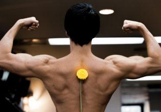 タンポポと広背筋reference stock photo muscle latissimus dorsi@アスリートモデル マッチョ