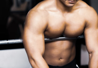 Pecs on the barbell shaft/reference stock photo muscle@アスリートモデル マッチョ