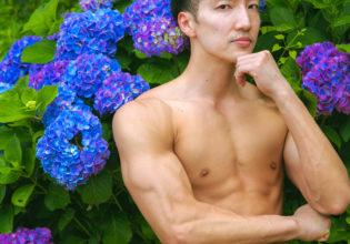 紫陽花とマッチョreference photo muscle hydrangea@著作権フリー 画像 筋肉