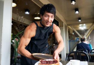 マッチョなカフェの小倉トーストでございます/reference photo muscle coffee shop@モデル 筋肉