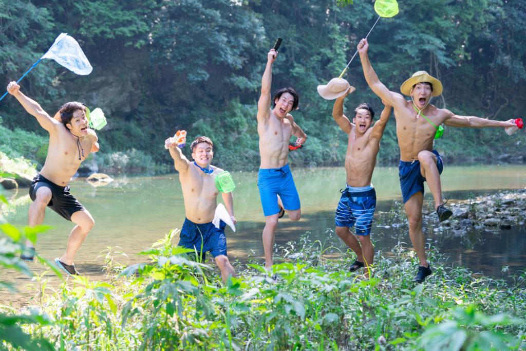 夏にはしゃぐマッチョ/reference photo muscle summer vacation@フリー素材 筋肉