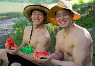 スイカと双子マッチョ/reference photo muscle twins@フリー素材筋肉