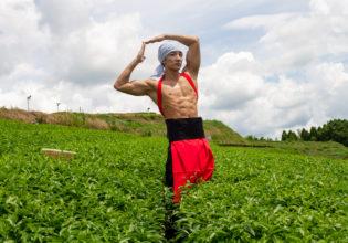 茶畑でジョジョ立ちをキメるマッチョ/reference photo muscle jojo pose@フリー素材 筋肉