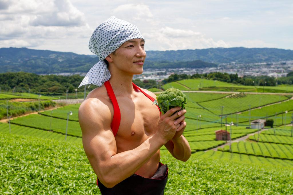 茶畑とブロッコリーとマッチョ@フリー素材 筋肉