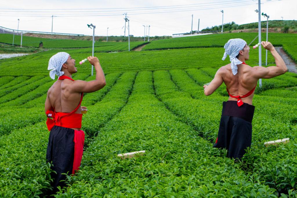 茶畑で団子を食べるマッチョ@フリー素材 筋肉
