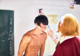【メイド喫茶のマッチョ】検温されるマッチョ/reference photo for drawing muscle/maid cafe@フリー素材 筋肉