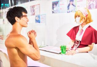 【メイド喫茶のマッチョ】初めてのメロンソーダに感動するマッチョ/reference photo for drawing muscle/maid cafe@フリー素材 筋肉