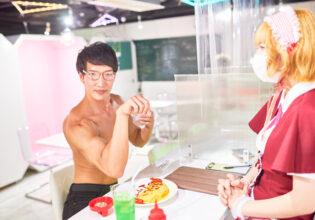 【メイド喫茶のマッチョ】オムライスにプロテインをまぶすマッチョ/reference photo for drawing muscle/maid cafe@フリー素材 筋肉